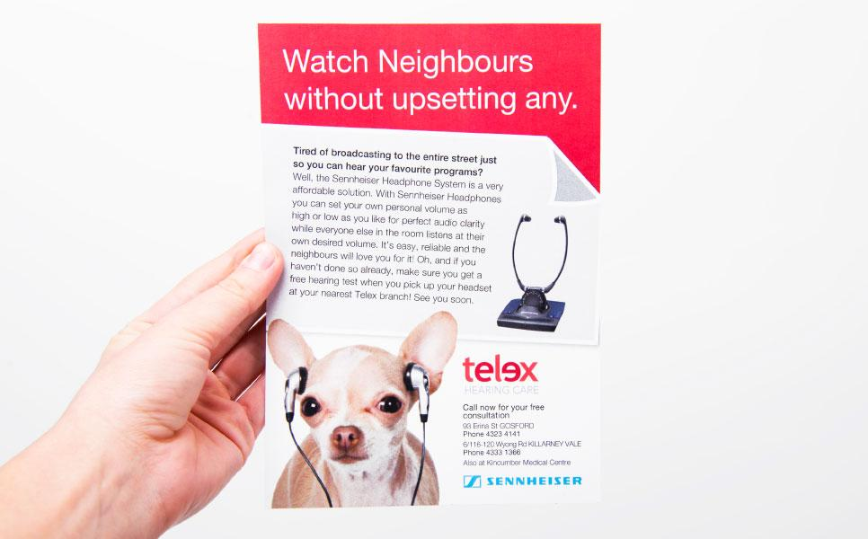 Telex flyer design – Watch Neighbours without upsetting any