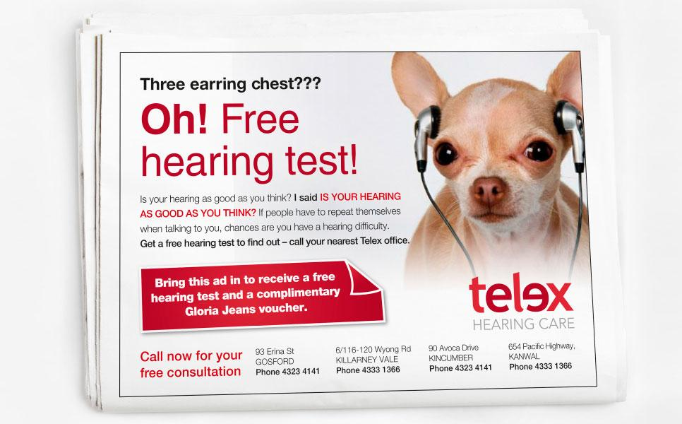 Telex advertisment design – Three earring chest??? Oh! Free hearing test!
