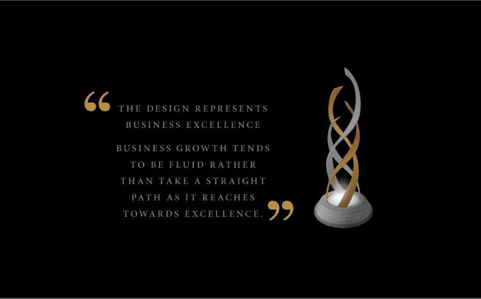 CCBEA award trophy design represents the key elements within a business