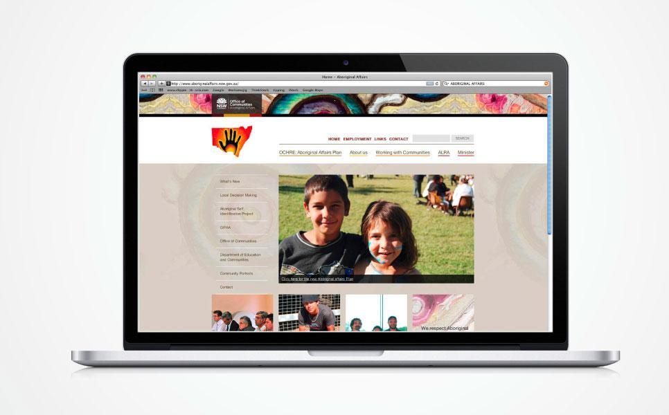 Aboriginal Affairs NSW web design home page