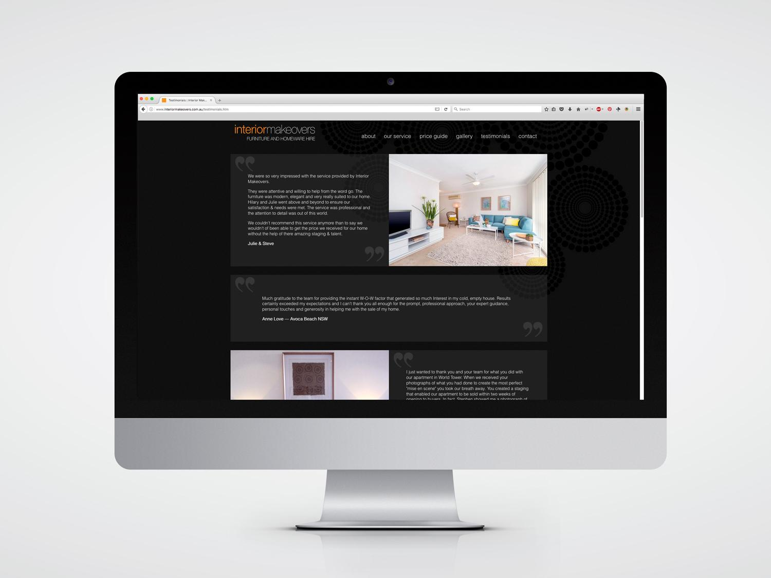 Interior Makeovers website design testimonial page