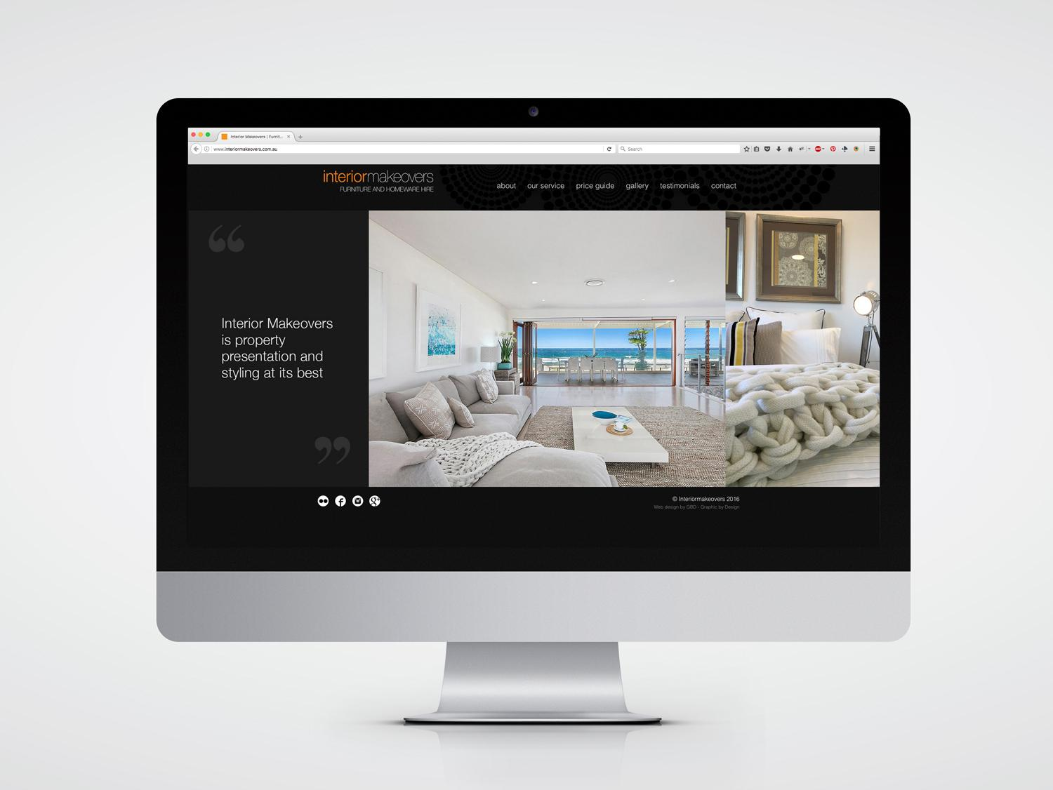 web design home page for Interior Makeovers Central Coast