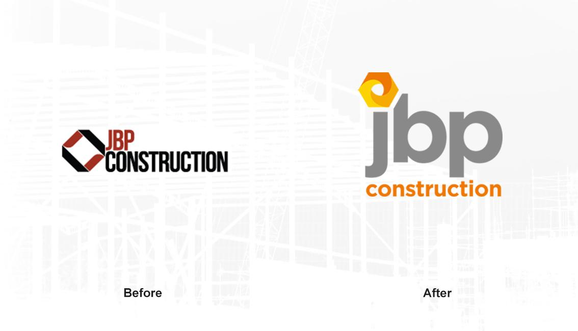 JBP Construction brand refresh before and after