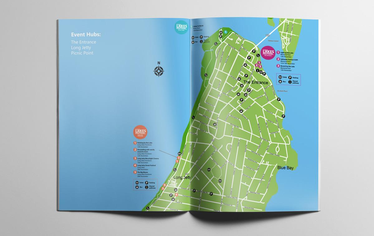 Wyong Lakes Festival - The Entrance map spread in program