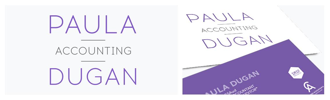 Paula Dugan Accounting logo and business card design