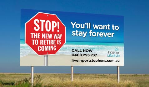 Live in Port Stephens billboard