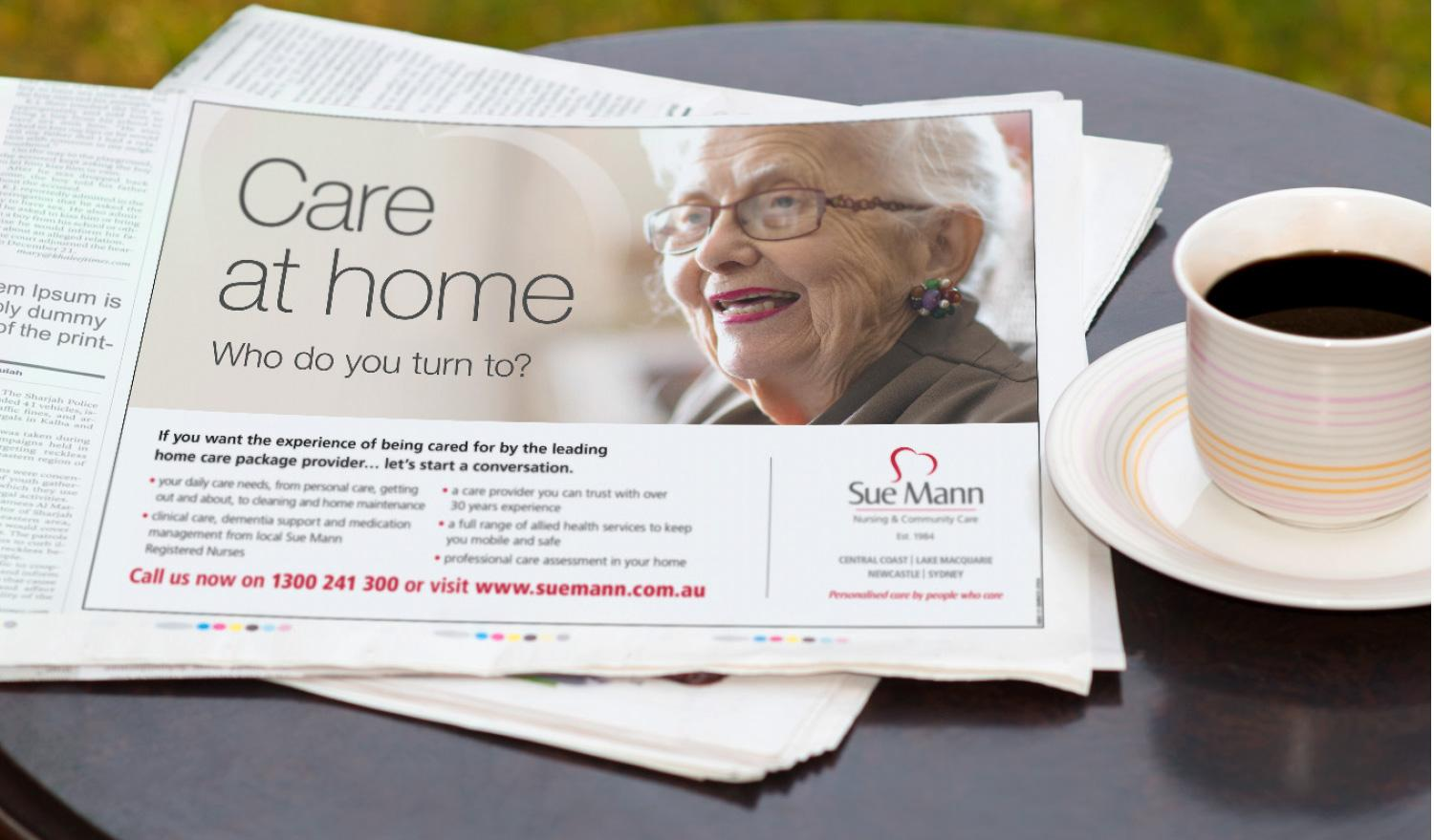 Sue Mann – Care at home press ad