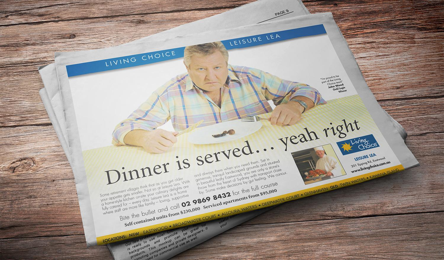 Living Choice press ad - the dinner is served... yeah right!