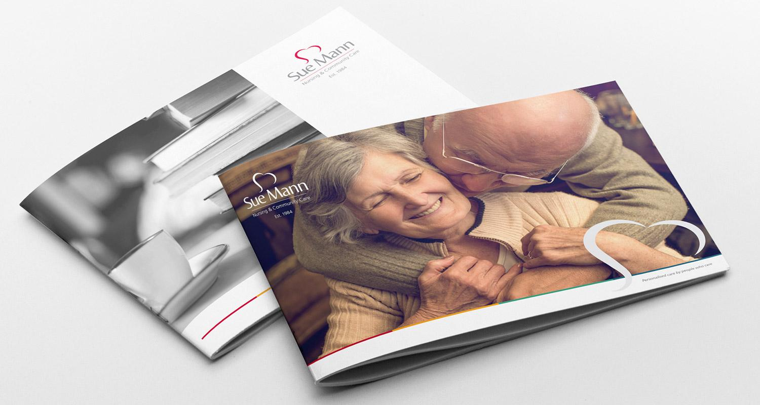 Sue Mann care brochures cover designs