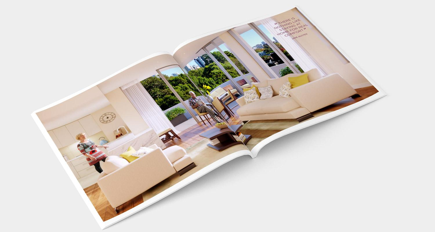 The Terraces brochure design internal page – Home for real comfort